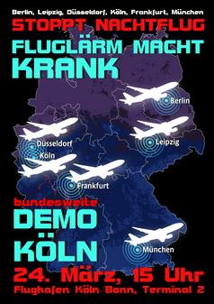 Demo gegen nächtlichen Fluglärm am 24. März am Flughafen Köln/Bonn