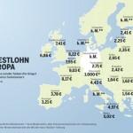 Mindestlöhne in Europa (Grafik: Grüne Bundesverband)